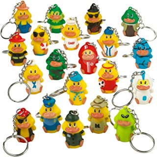 Kicko Rubber Duck Keychains - 20 Pack - 1.5 Inch Assorted Keyfob Duckies for Keyrings - for Party Favors, Decorations, Cla...