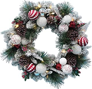 TenWaterloo Christmas Wonderful Winter Collection Snow Flocked Lighted Wreath, 28 Inches, with Ornaments and Battery Operated Timer