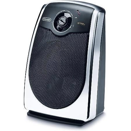 De'longhi HVS3031 - Termoventilador cromado, 2200 w, 3 niveles calefacción, sistema silencioso, función antihielo, ventilación verano, negro y cromado