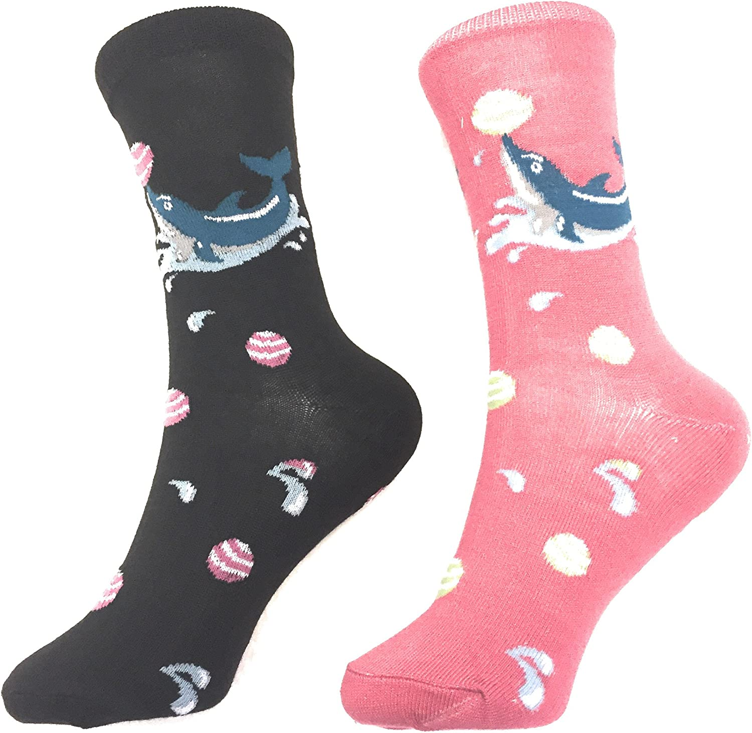 2 Pack Socks Dolphin Pattern Novelty Crew Socks Fun Fashion Casual Comfy Cozy (2 Pack)