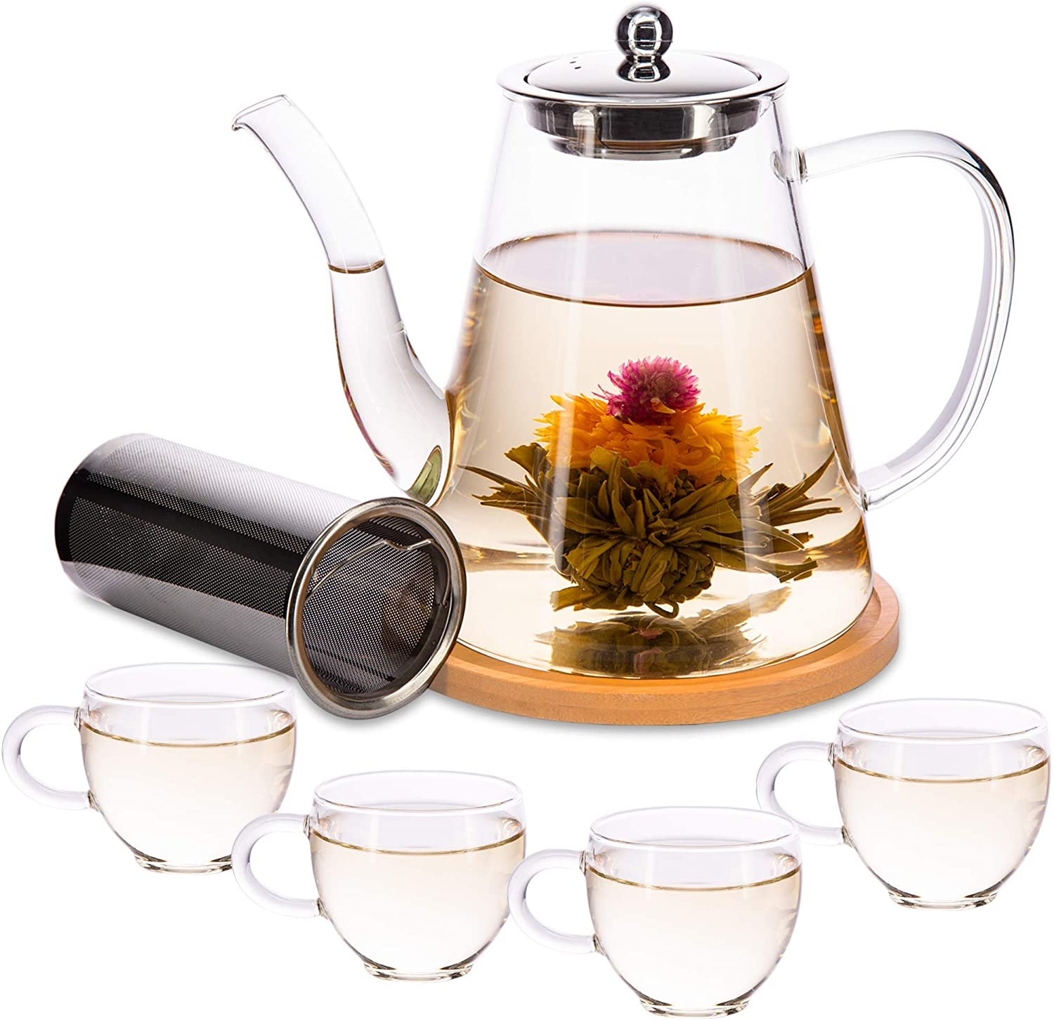 Tea Set Glass Teapot with Infuser 12 Genuine Free Selling Shipping Leaf 4 Loose for Cups