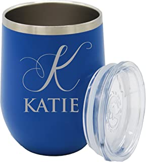 Custom Engraved Insulated Stemless Wine Tumbler Cup - Personalized Bridesmaid Beach Pool Girls Fun Gift - Monogrammed for Free (Deep Blue)