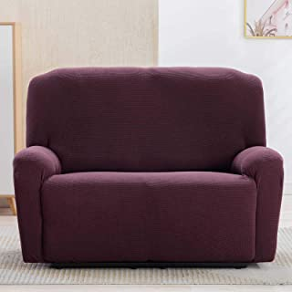 CANMOV Stretch Loveseat Slipcover Sofa Cover 1-Piece Furniture Protector Couch Soft with Elastic (Brown,Loveseat)