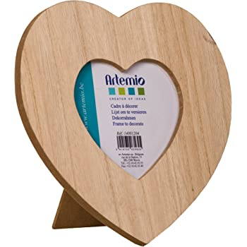 AR128 Baker Ross Heart Wooden Photo Frames for Children to Personalise and Display Pack of 5