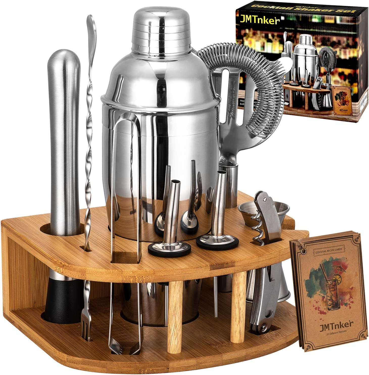 Tongs Corkscrew Cocktail Shaker Set with Stand Perfect Bartender Kit for Home and Bar-Bar Tools set: 24oz Martini Shaker Strainer Muddler Recipes Cards Jigger Mixer Spoon 2 Liquor Pourers