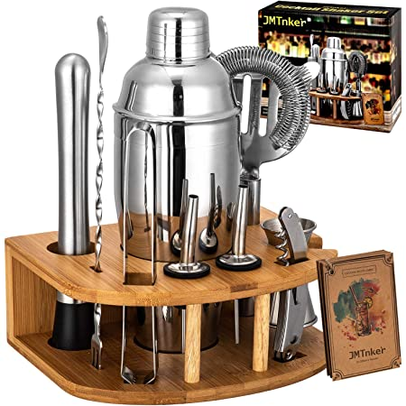YCOCO Bartender Kit 12 Piece,Cocktail Shaker Bar Tools 25 oz Set with bamboo stand,Stainless Steel Drink Shaker for Home,Bars,Traveling and Outdoor Parties