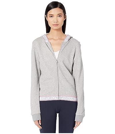Emporio Armani Logo Power Terry Full Zip Hoodie Jacket (Melange Grey) Women