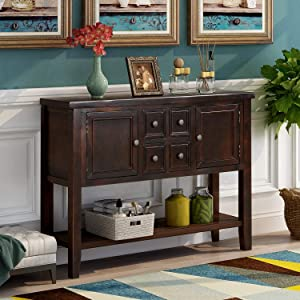 Merax Console Sofa Table Sideboard with Storage Drawers Cabinets and Bottom Shelf for Living Room, Kitchen, Entryway/Hallway, Dark Brown