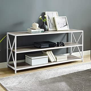 WE Furniture 2 Shelf Industrial Wood Metal Bookcase Bookshelf Office Storage, 60 Inch, Grey Wash/White