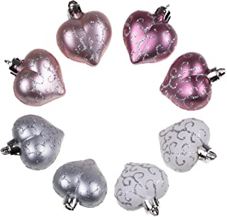 Clever Creations Christmas Heart Ornament Set Small Pink and White Heart with Glitter | Lightweight Shatter Resistant Design | 8 Pack | Festive Holiday Decor | 2