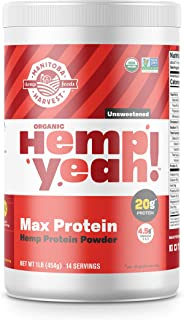 Manitoba Harvest Hemp Yeah! Organic Max Protein Powder, Unsweetened, 16oz; with 20g protein and 4.5g Omegas 3&6 per Serving, Preservative Free, Non-GMO (Packaging May Vary)