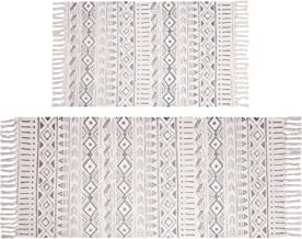Pauwer Cotton Area Rug Set 2 Piece 4.2'x2'+3'x2' Hand Woven Cotton Rugs with Tassel Washable Cotton Throw Rug Runner for K...