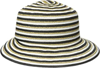 Gottex Women's Pippa Toyo Metallic Straw Accented Packable Sun Hat Rated UPF 50+