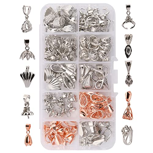 10 Jewelry Bails Antique Silver Tone Glue On Bail Findings for Tiles Pendants