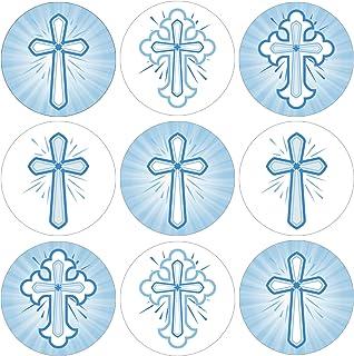 Blue Cross Baptism Party Favor Stickers - 180 Labels