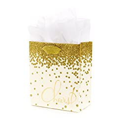 """Hallmark 6"""" Small Gift Bag with Tissue Paper (Gold Glitter Cheers) for Engagements, Weddings, Retire"""