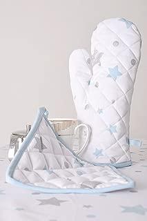 Lushness_Linen Glittering Stars 100% Cotton Set of Oven Mitt & Pot Holder