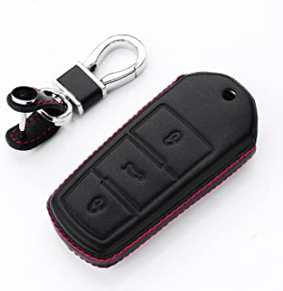 RoyalFox Genuine 3 Buttons Leather Smart Key Fob case Cover for VW Volkswagen CC Magotan Key, Car Remote Key Pouch Bag Key...