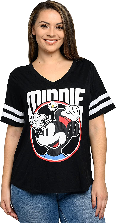 Disney Women Junior Plus Size Mickey & Minnie Mouse V Neck T Shirt
