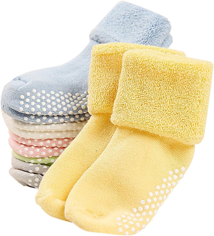G&M 6 Pairs Baby Anti Slip Socks Toddler Thick Cotton Socks 0-3 Years
