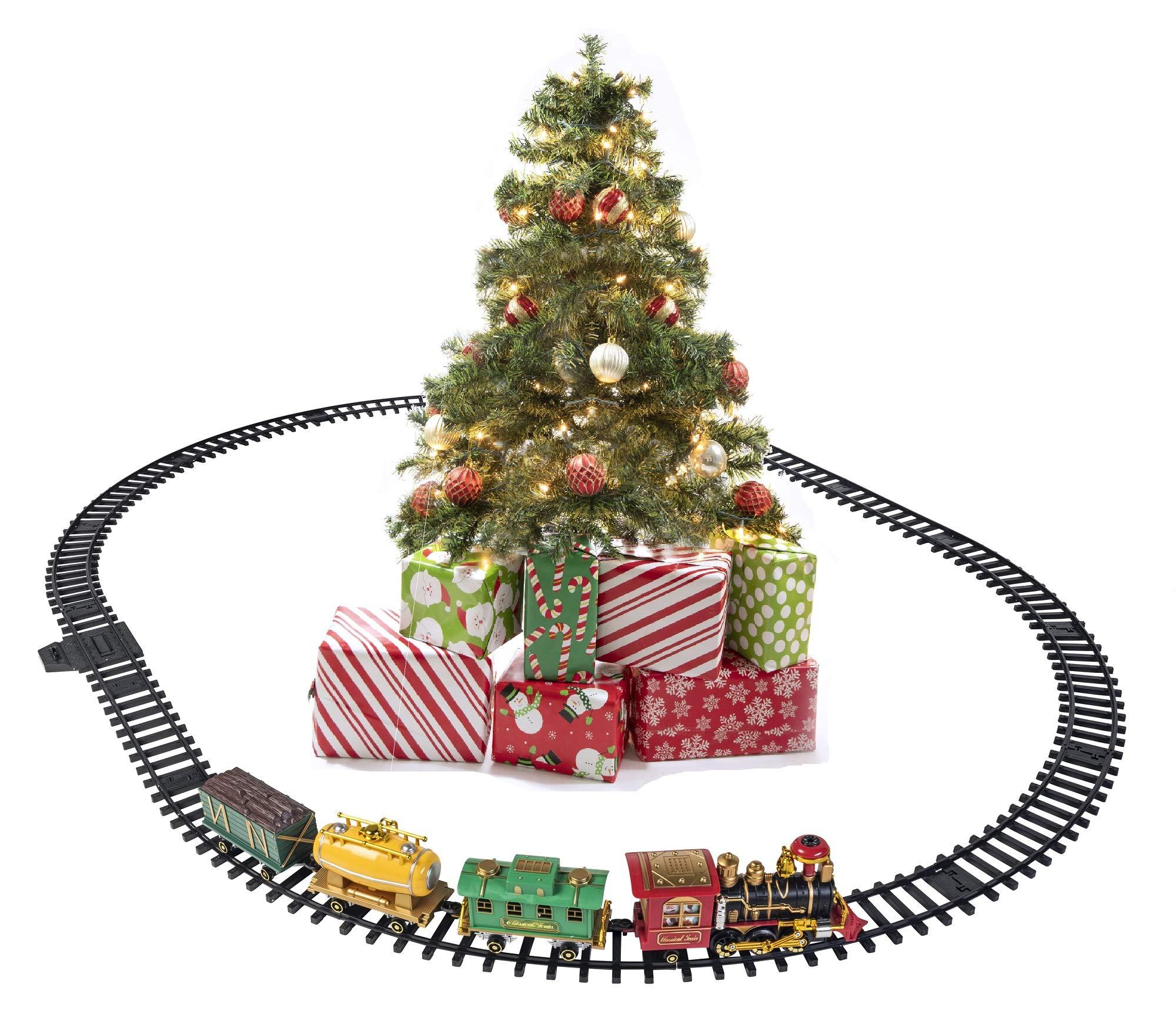 Prextex Christmas Train Set Around The Christmas Tree With Real Smoke Music Lights Amazon Com Au Toys Games