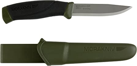 Morakniv Companion Fixed Blade Outdoor Knife with Carbon Steel Blade, 4.1-Inch, Military Green
