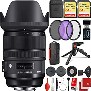 Sigma 24-70mm f/2.8 DG DN Art Lens Sony E-Mount Bundle, 2X 64GB Memory Cards, IR Remote, 3 Piece Filter Kit, Wrist Strap, ...