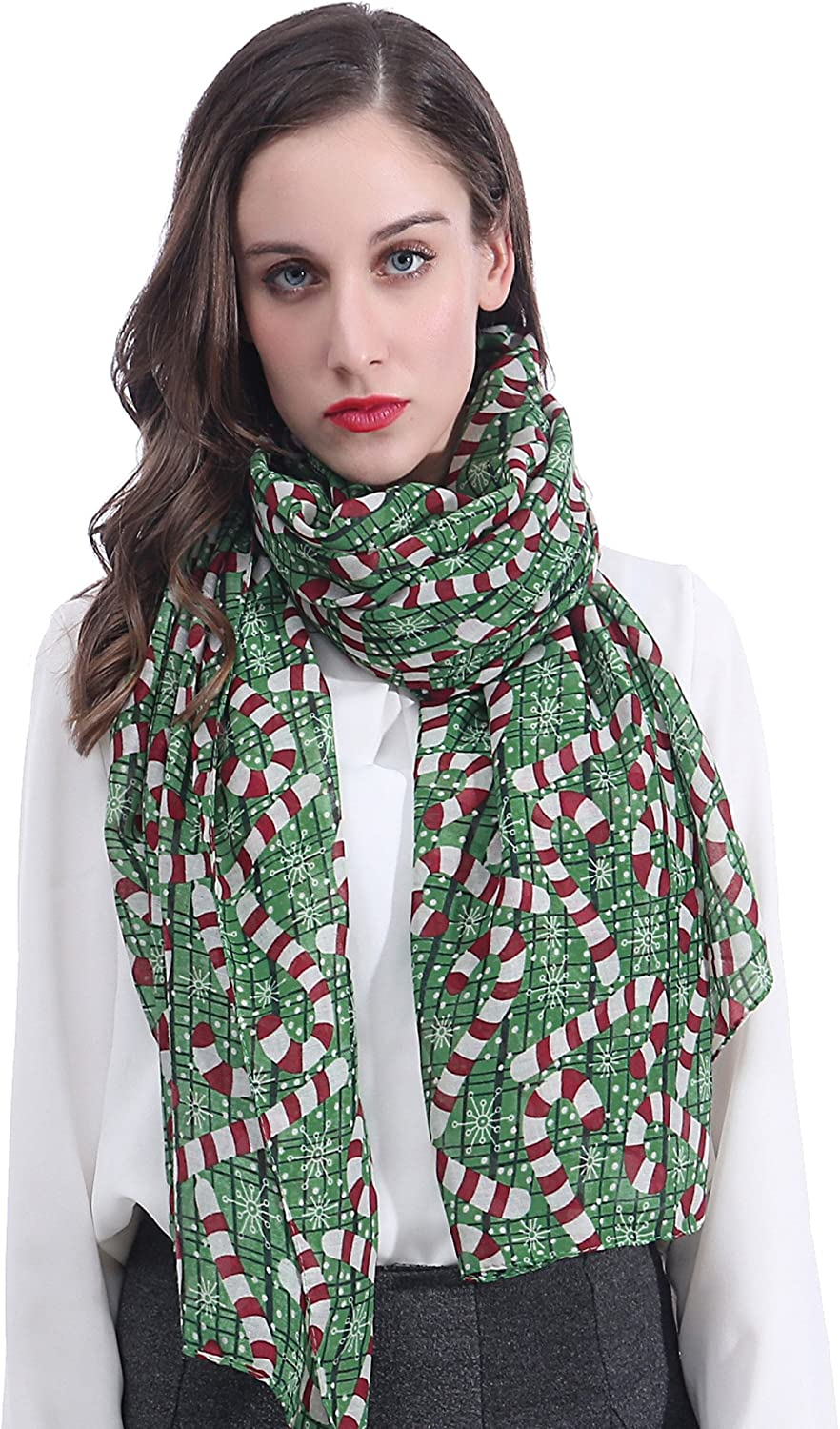 Lina & Lily Candy Cane Print Women's Large Christmas Scarf