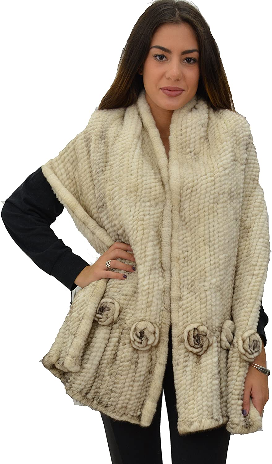 100% Mink Knit Fur Large Scarf/Shawl with Rosettes - Ivory