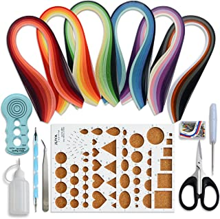 JUYA Paper Quilling Kits with 30 Colors 600 Strips and 8 Tools (Paper Width:3mm, Blue Tools)