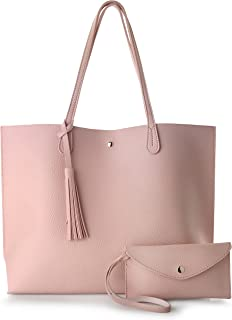 Minimalist Clean Cut Pebbled Faux Leather Tote Womens Shoulder Handbag