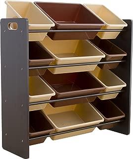 おもちゃ箱 ラック 4段 ブラウン 幅86.2×奥行31×高さ71cm THR-4BR