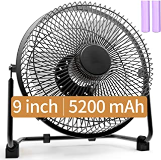 Battery Operated Fan, 9 Inch Camping Fans Rechargeable, Battery Powered USB Fan with 5200mAh Rechargeable Battery, Quiet Personal Cooling Fan with Metal Frame for Camping & Home&Office&Hurricane