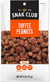 Snak Club All Natual Toffee Peanuts, Gluten Free, 4-Ounces, 12-Pack