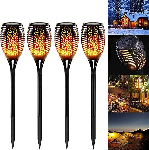 4 Stück Solarleuchten Garten Außen, Swonuk Solar Flammenlicht mit Wasserdicht IP65, Gartenleuchten mit Realistischen Flammen Automatische EIN/Aus...
