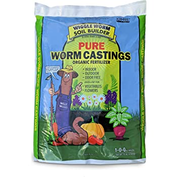 Worm Castings Organic Fertilizer, Wiggle Worm Soil Builder, 15-Pounds