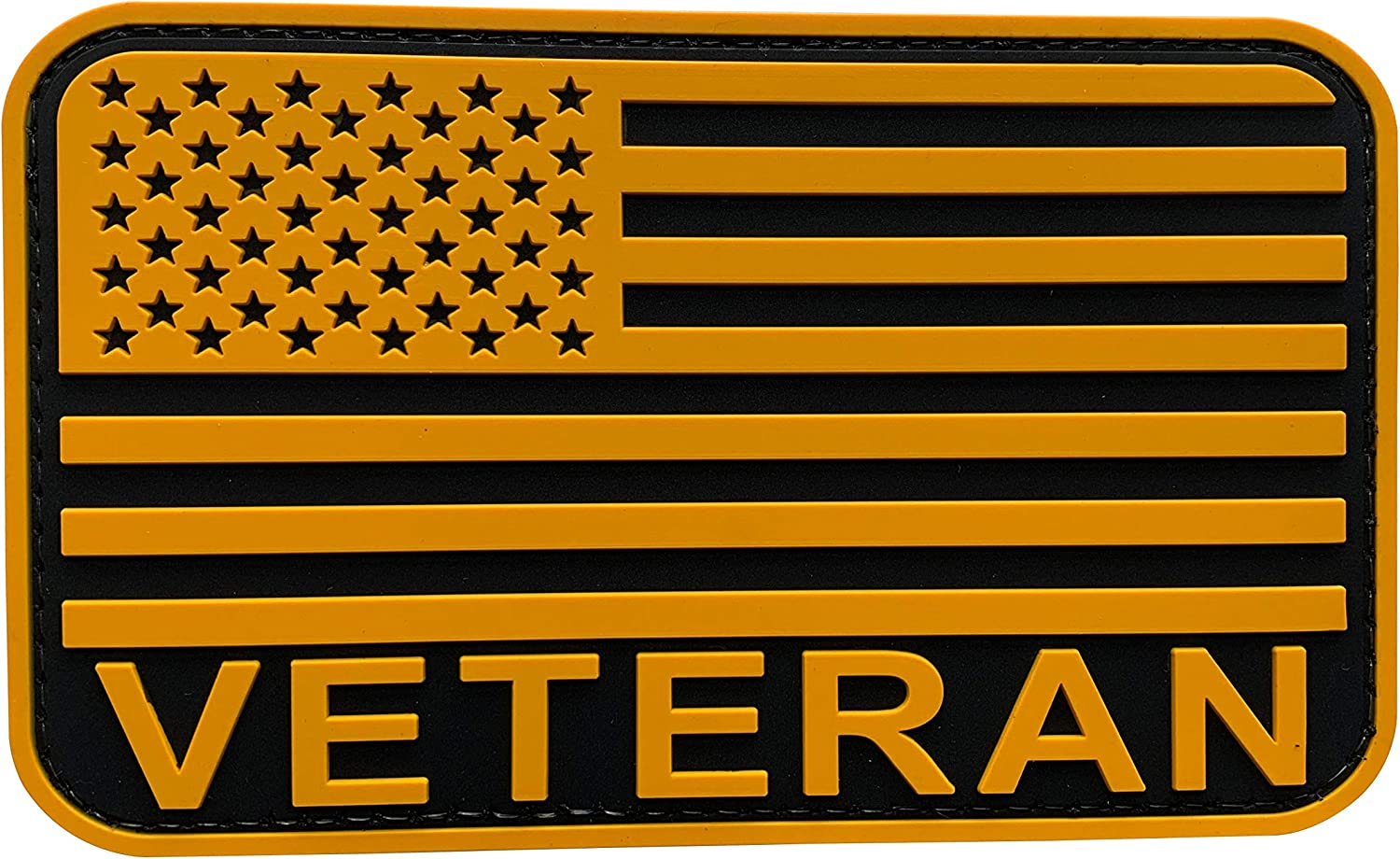 uuKen Large 2021new shipping free shipping Veteran Flag Patch 3x5 and Retir Black Yellow inches Indefinitely