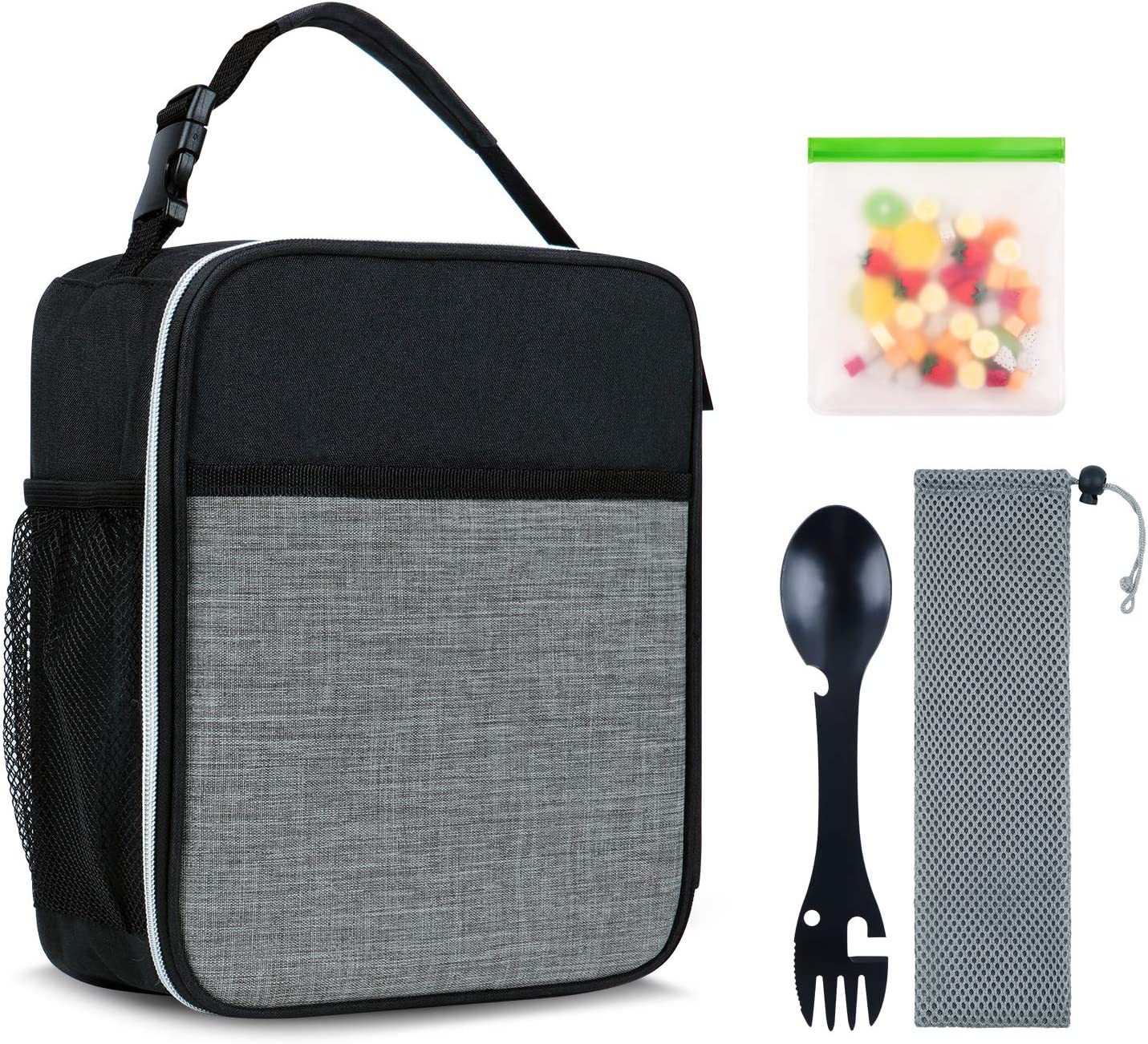Nirroti Insulated Lunch Bags for Men Kids Leakproof Reusable kids Lunch Box with Water Bottle Holder Mini Lunch Tote Bag, Soft Lunch Container Cooler Bag for School Work Office, Black and Grey