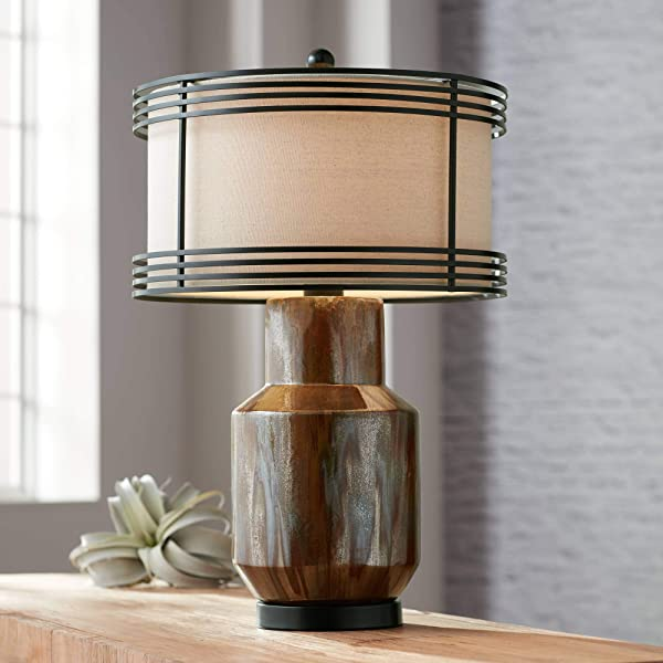 Arthur Rustic Shabby Chic Table Lamp Copper Ceramic Double Metal Fabric Drum Shade For Living Room Bedroom Bedside Nightstand Office Family Possini Euro Design