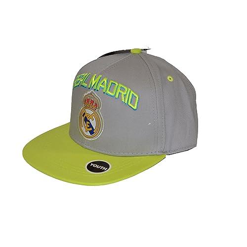 Real Madrid Fc Club Snapback Youth Kids Adjustable CAP Hat - Gray- Neon NEW Season
