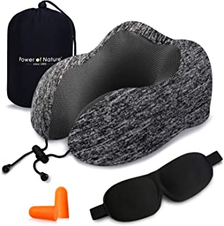 Power of Nature Travel Pillow Memory Foam Neck Pillow, Best Sleeping Rest for Airplane Comfortable & Breathable Cover