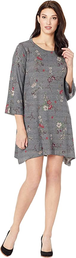 Houndstooth Floral Print Dress