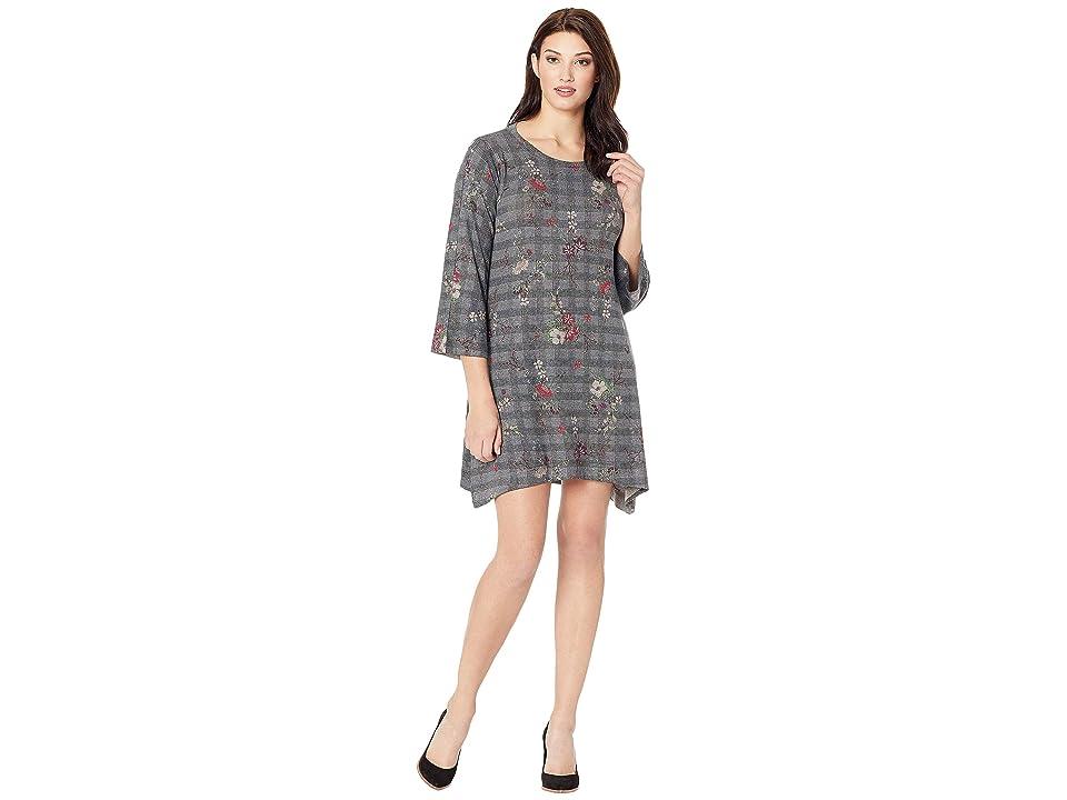 Nally & Millie Houndstooth Floral Print Dress (Multi) Women