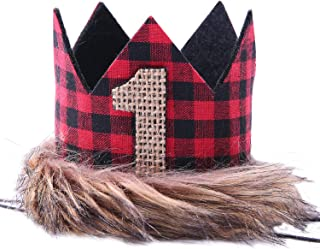 WAOUH Lumberjack Crown for 1st Birthday - First Birthday Hat for Lumberjack, Buffalo Check Plaid Party, Red Black Tan Wilderness Birthday Crown, Camping Birthd