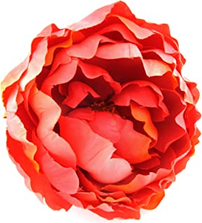 Full 5 Coral Peony Silk Flower Combo Hair Clip / Brooch Pin