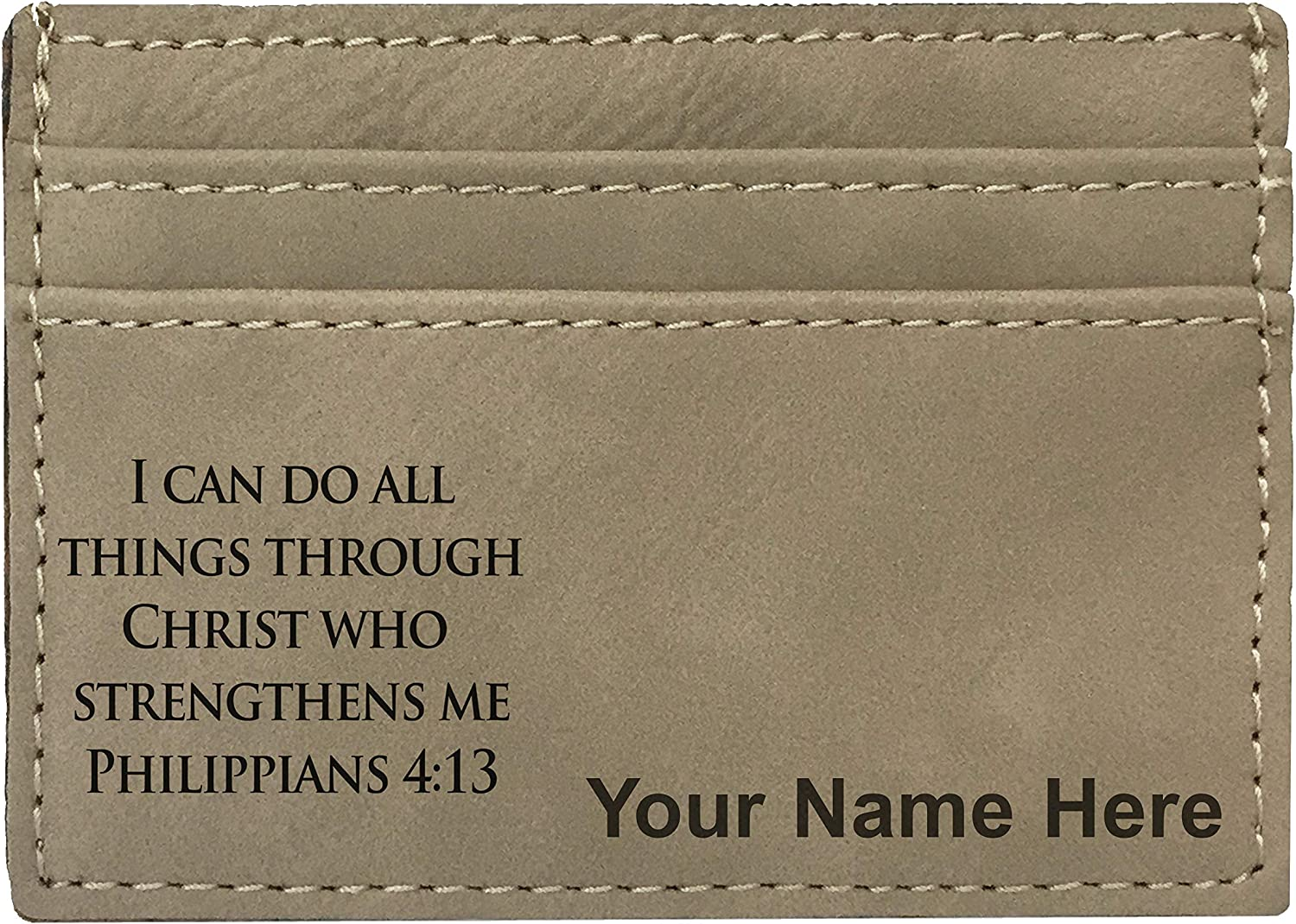Money Clip Wallet, Bible Verse Philippians 4:13, Personalized Engraving Included