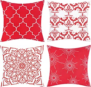 BLEUM CADE Set of 4 Throw Pillow Covers Modern Decorative Throw Pillow Case Morocco Pattern Pillow Covers Cushion Case for Room Bedroom Room Sofa Chair Car, Red, 18 x 18 Inch