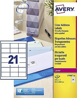 Avery L7560-25 Quickpeel Etichette, 21 Pezzi per Foglio, 25 Fogli, 63.5 x 38.1, Trasparente