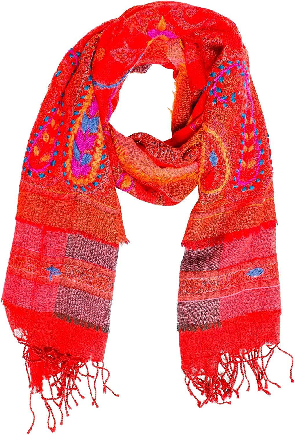 3 Layer Camel Wool Ultra Soft Scarf Gorgeous Ruby Red