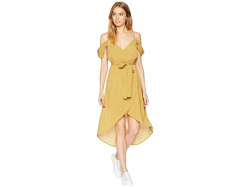 J.O.A. Cold Shoulder Wrap Dress (Mustard Stripe) Women